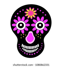 Skull Black With Colors Vector Image For Textiles Paper Holiday Day