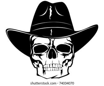 skull in black cowboy's hat