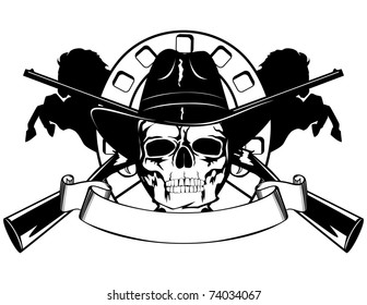 Skull in black hat with the crossed rifles