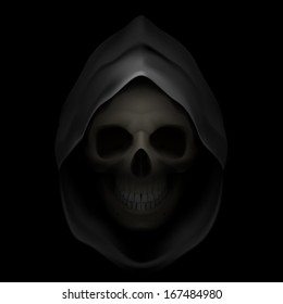 Skull in black hood as image of death. Grim Reaper.