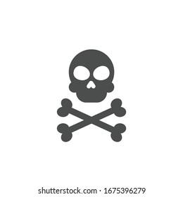skull black icon.vector illustration.isolated on white background