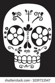 Skull black and white doodle art