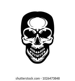 Skull black white logo