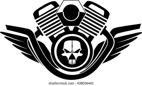 Skull black wings V-Twin engine