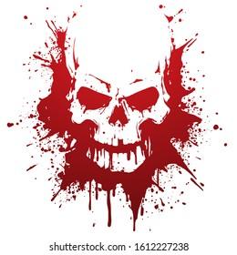 Skull in blood stains illustration