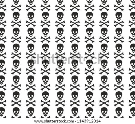 skull and bone danger halloween skeleton pattern wallpaper design vector background