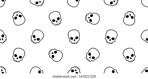 skull bone seamless pattern Halloween vector pirate icon scarf isolated repeat wallpaper tile background cartoon illustration doodle design