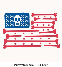 Skull bones america flag illustration, t-shirt graphics, vectors, typography