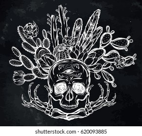 Skull with bones and cactus. Vector illustration. Handmade. Tattoos, prints on T-shirts, postcard for you, background chalkboard
