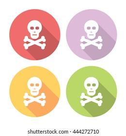 Skull And Bones Flat Style Design Icons Set