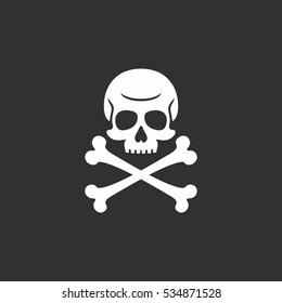 Skull And Bones Flat Vector Logo