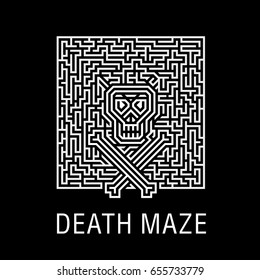 Skull and bones in horrible deadly labyrinth - Creative logo, vector sign concept illustration. Layout T-shirts, leaflets for Halloween, zombie party, quests or a music concert. Element of design.
