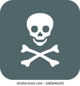 Skull and bones icon. Vector illustration