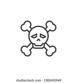 Skull and bones line icon. linear style sign for mobile concept and web design. Pirate skull with crossbones outline vector icon. Danger symbol, logo illustration. Pixel perfect vector graphics