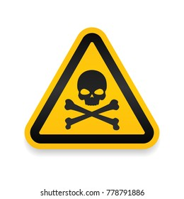 Skull and bones logo warning attention icon. Poison symbol. Flat Vector illustration. Vector attention sign with exclamation mark icon. risk sign vector illustration.