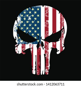 skull and Bones Punisher icon with United states America flag. Element of crime and punishment illustration, T-Shirt graphics design famous, vector design icon