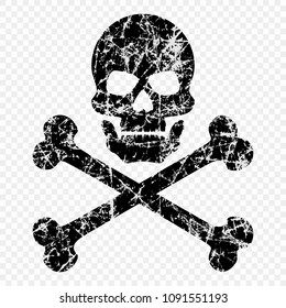 Skull with bones scratched on isolated transparent background. Worn skull icon. The symbol of pirates. Vector template for your design.