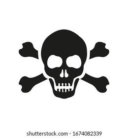 Skull with bones sign. Vector illustration