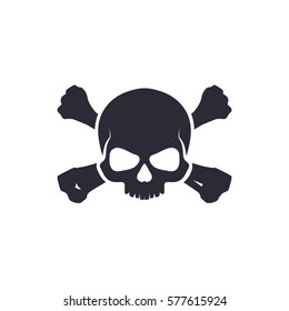 Skull with bones sign. Vector illustration