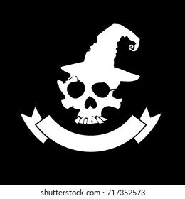 Skull with bones sign. Vector illustration. Unusual skull with attributes
