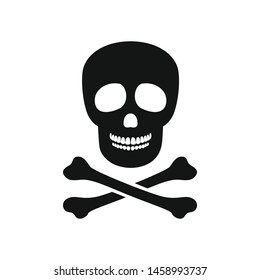 Skull with bones. Simple black white icon. Vector illustration.