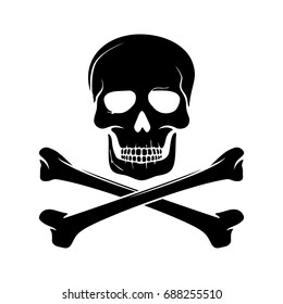Skull and bones. Vector.
