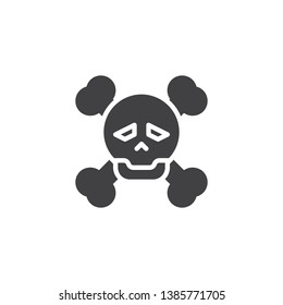 Skull and bones vector icon. filled flat sign for mobile concept and web design. Pirate skull with crossbones glyph icon. Symbol, logo illustration. Pixel perfect vector graphics