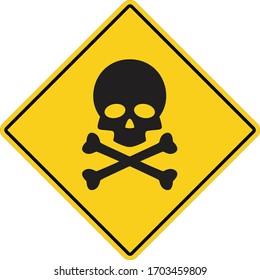 skull and bones warning icon on white background. flat style. deadly danger symbol. skull danger sign.