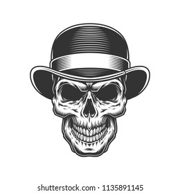 6ed512d4326e4 Vector vintage illustration. skull in the bowler hat. Vector vintage  illustration. Hand drawn gentleman skull wearing bowler hat with monocle  and smoking ...