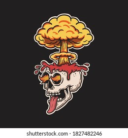 skull brain exploding and burning eyes
