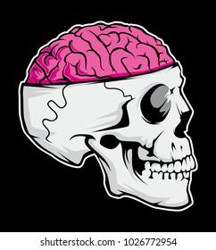 skull brain vector file