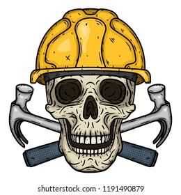 Skull Builder. Skull in helmet with two crossed hammers. Worker's skull.