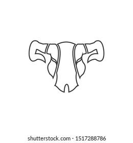 Skull Bull Head Outline Vector Logo