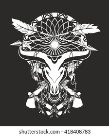 skull of a bull with long horns in the background Dream catcher and shamanism attributes