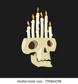 Skull with burning candles in the head
