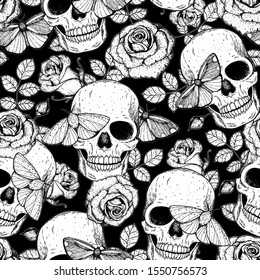 Skull, butterfly and roses seamless pattern. Hand drawn vector illustration. Fabric design template. Skull and moth background.