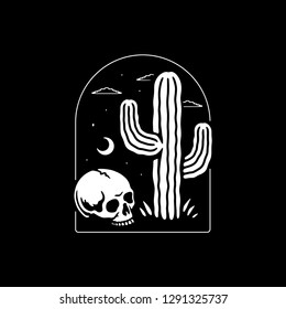 SKULL AND CACTUS BADGE BLACK BACKGROUND