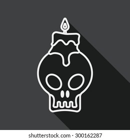 skull candle flat icon with long shadow, line icon