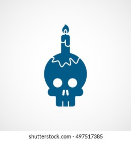 Skull And Candle Halloween Concept Blue Flat Icon On White Background