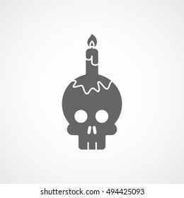 Skull And Candle Halloween Concept Flat Icon On White Background