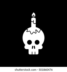 Skull And Candle Halloween Concept Flat Icon On Black Background