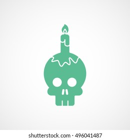 Skull And Candle Halloween Concept Green Flat Icon On White Background