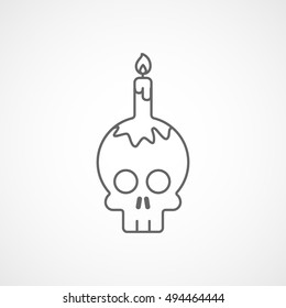 Skull And Candle Halloween Concept Line Icon On White Background