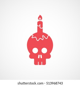 Skull And Candle Halloween Concept Red Flat Icon On White Background