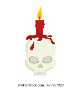 skull candle halloween season horror and fear decoration vector illustration