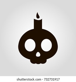 Skull and candle isolated flat vector icon