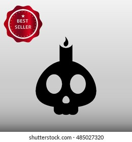 Skull with Candle Vector Icon Illustration