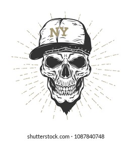 Skull With The Cap isolated on white background.Vector illustration.