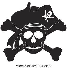 Skull with Captain Pirate Hat and Cross Bones Black and White Vector Illustration