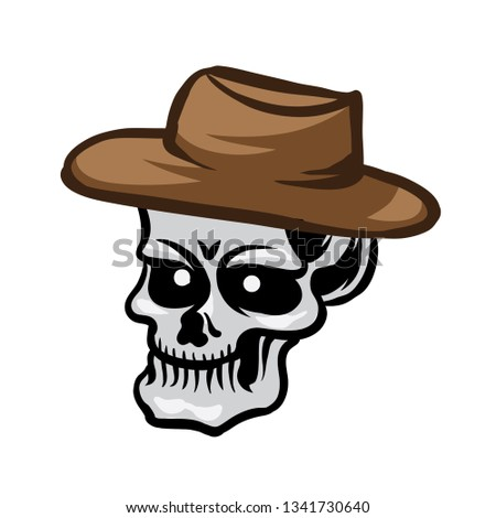 c432e3e372bfb Skull Cartoon Cowboy Hat Stock Vector (Royalty Free) 1341730640 ...